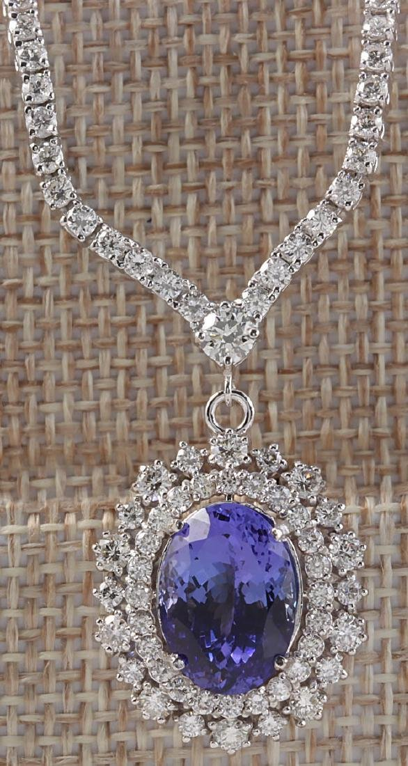 10.98CTW Natural Tanzanite And Diamond Necklace In 14K