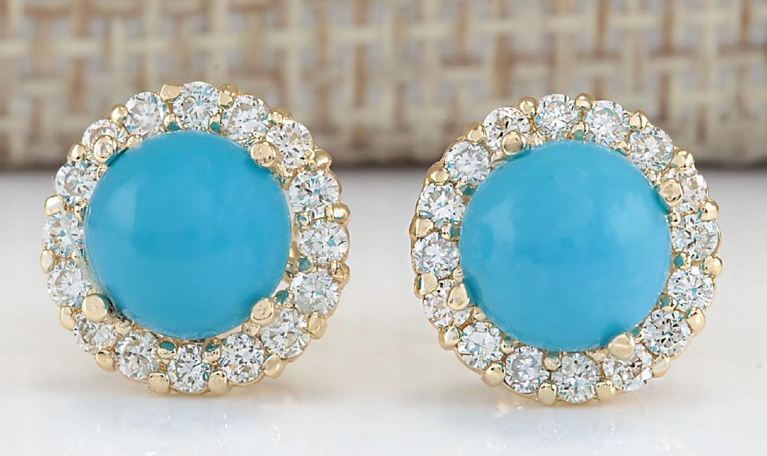 3.65 CTW Natural Blue Turquoise And Diamond Earrings