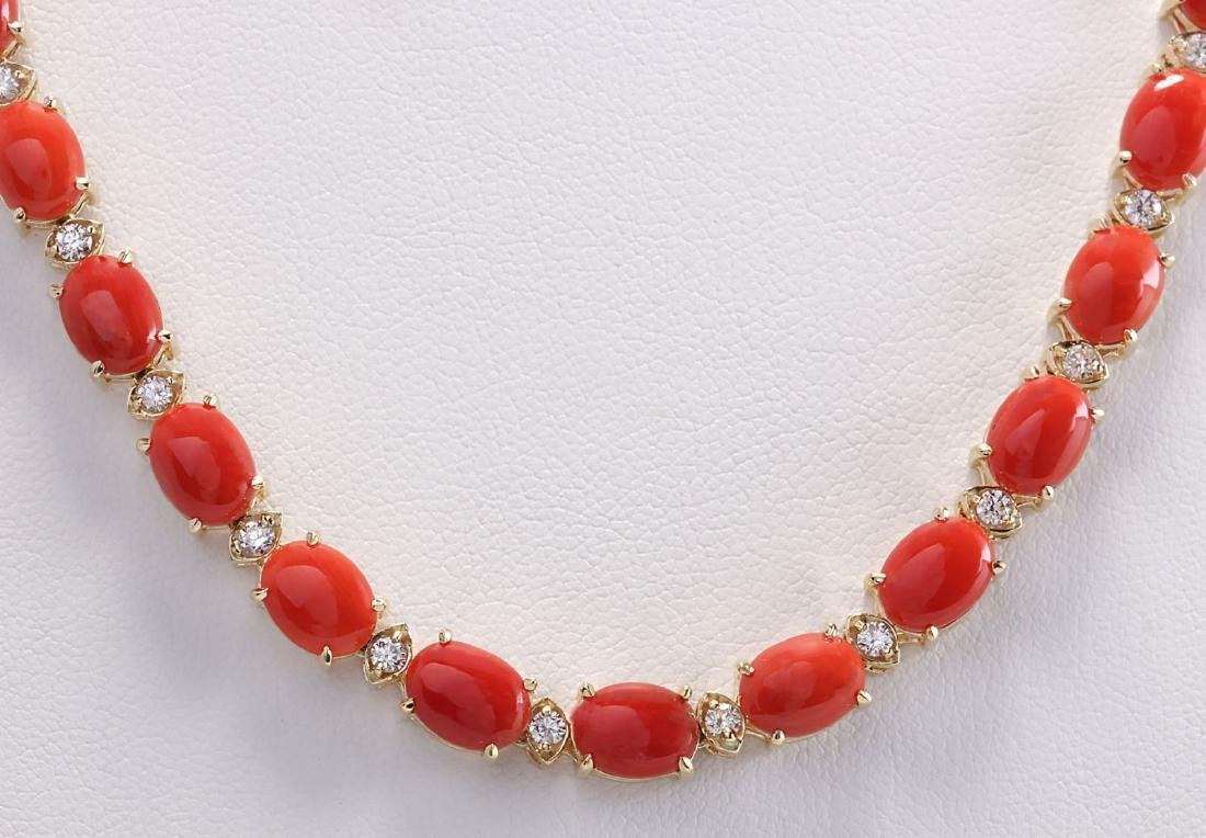 42.82CTW Natural Red Coral And Diamond Necklace In 14K