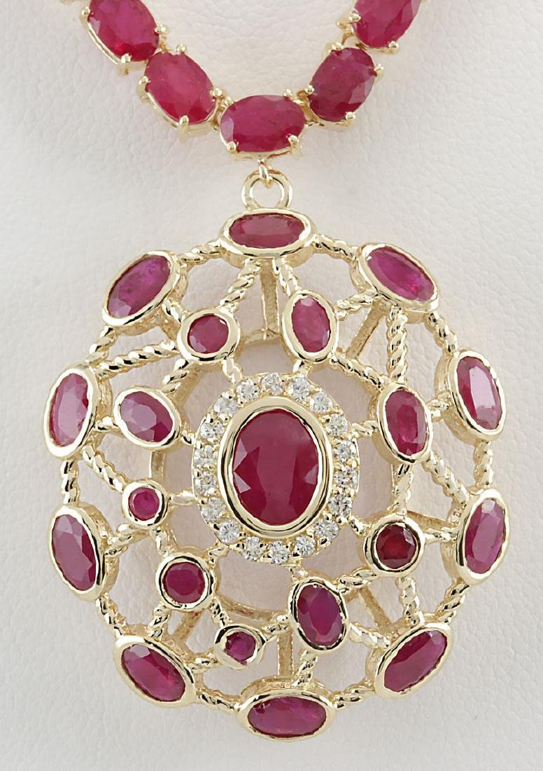 48.75CTW Natural African Ruby And Diamond Necklace In