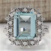 558CTW Natural Blue Aquamarine Diamond Ring 18K Solid