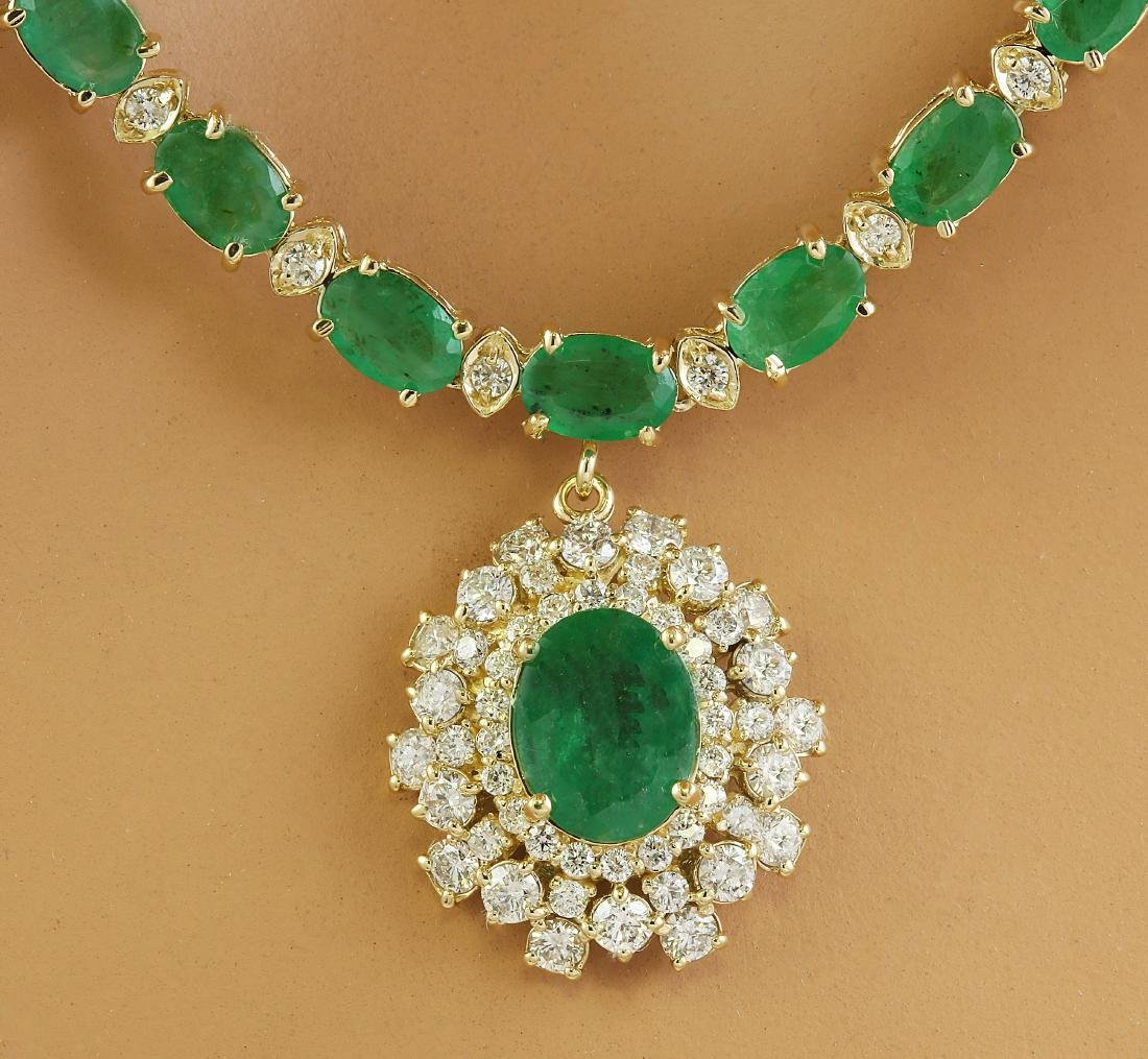 30.90 Carat Emerald 14K Yellow Gold Diamond Necklace