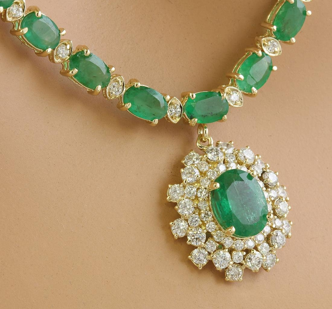 30.90 Carat Emerald 14K Yellow Gold Diamond Necklace - 2