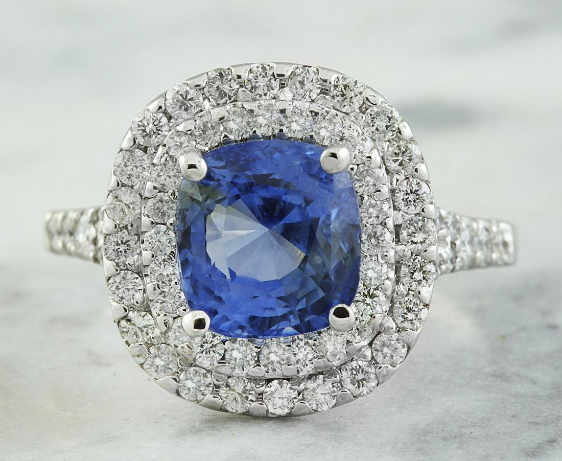 4.60 Carat Sapphire 18K White Gold Diamond Ring