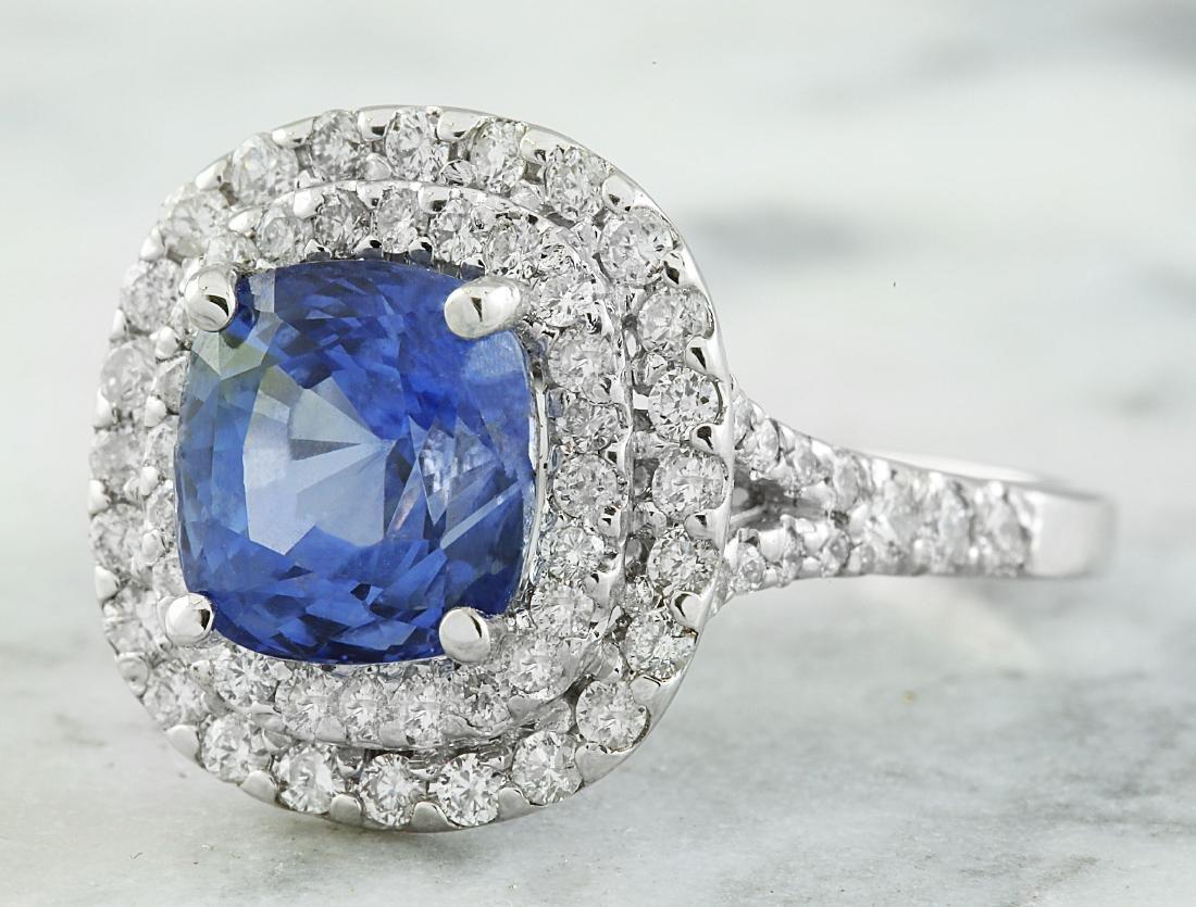 4.60 Carat Sapphire 18K White Gold Diamond Ring - 2