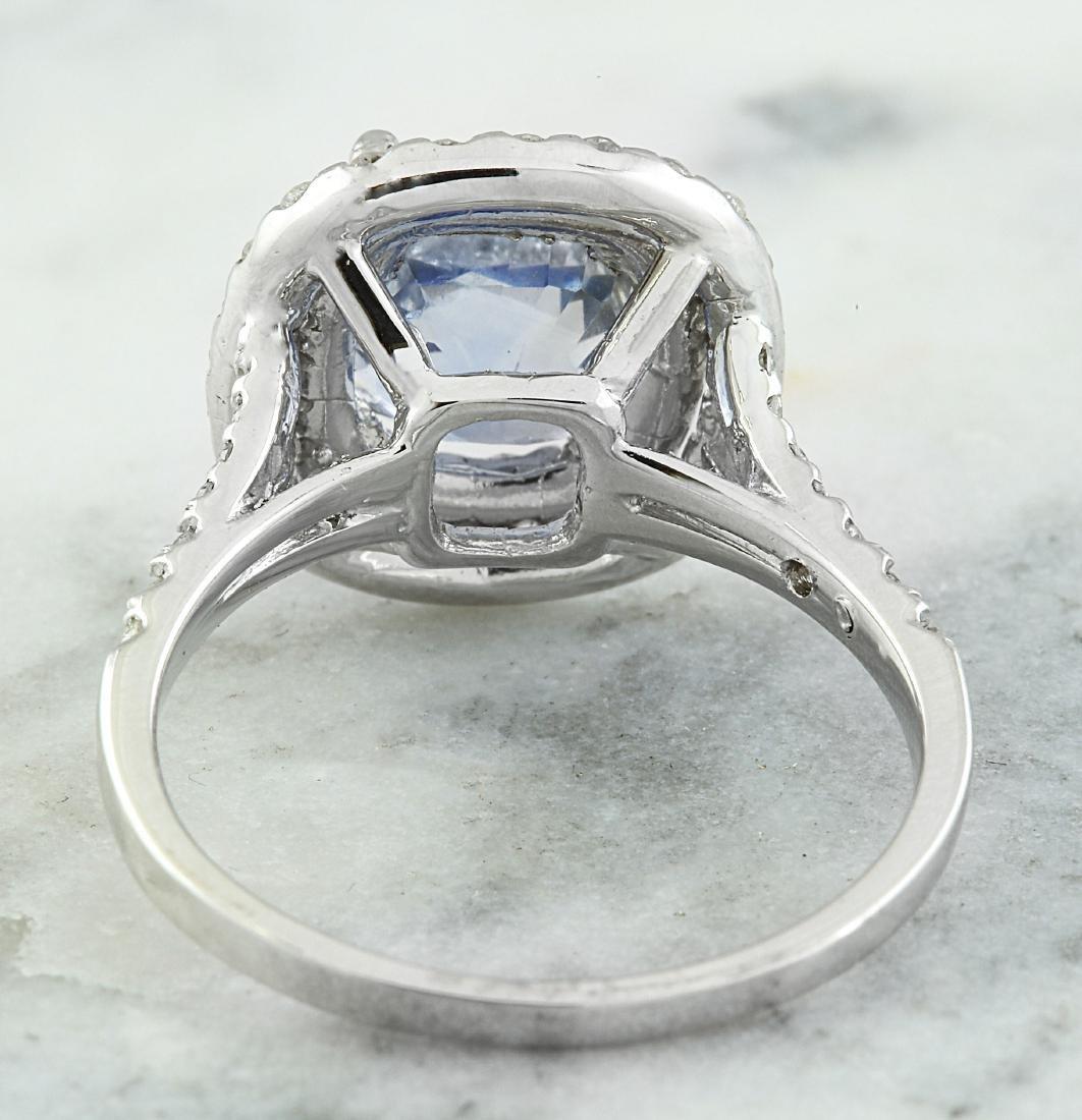 4.60 Carat Sapphire 18K White Gold Diamond Ring - 3