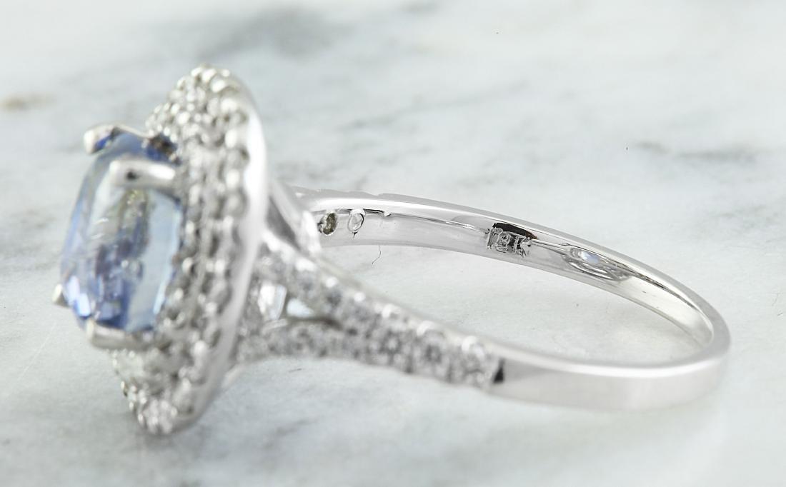 4.60 Carat Sapphire 18K White Gold Diamond Ring - 4