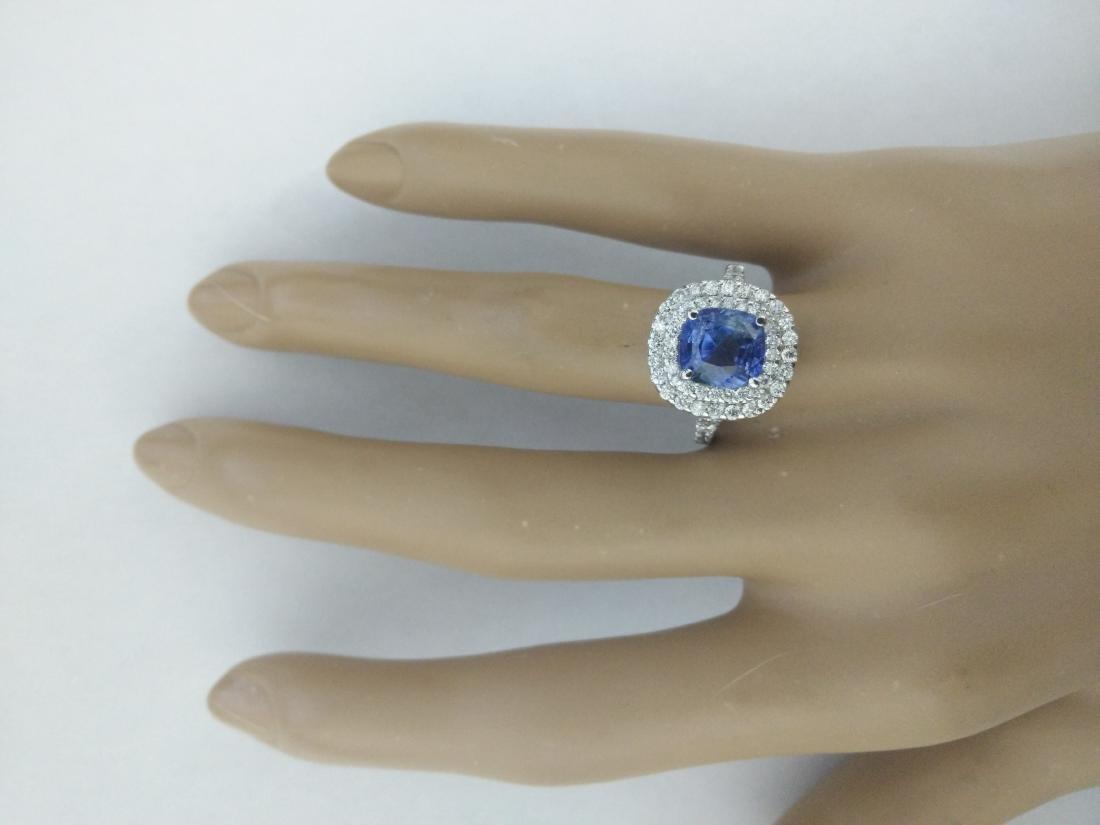 4.60 Carat Sapphire 18K White Gold Diamond Ring - 5