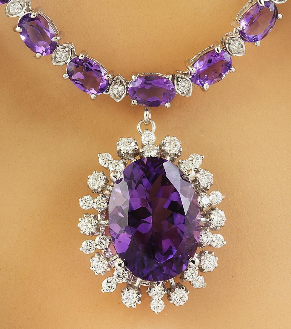 37.52 Carat Amethyst 14K White Gold Diamond Necklace - 2