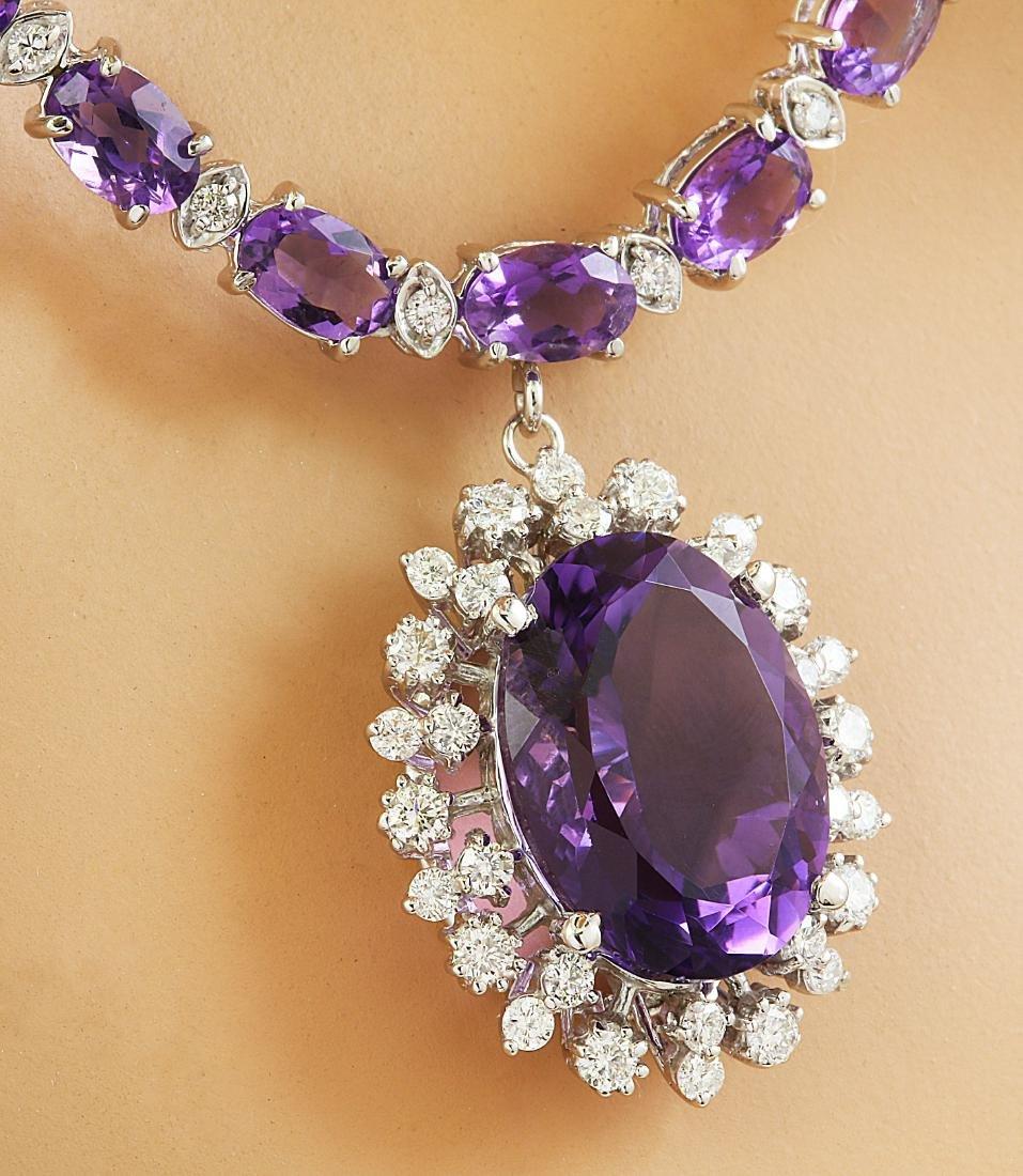 37.52 Carat Amethyst 14K White Gold Diamond Necklace - 3