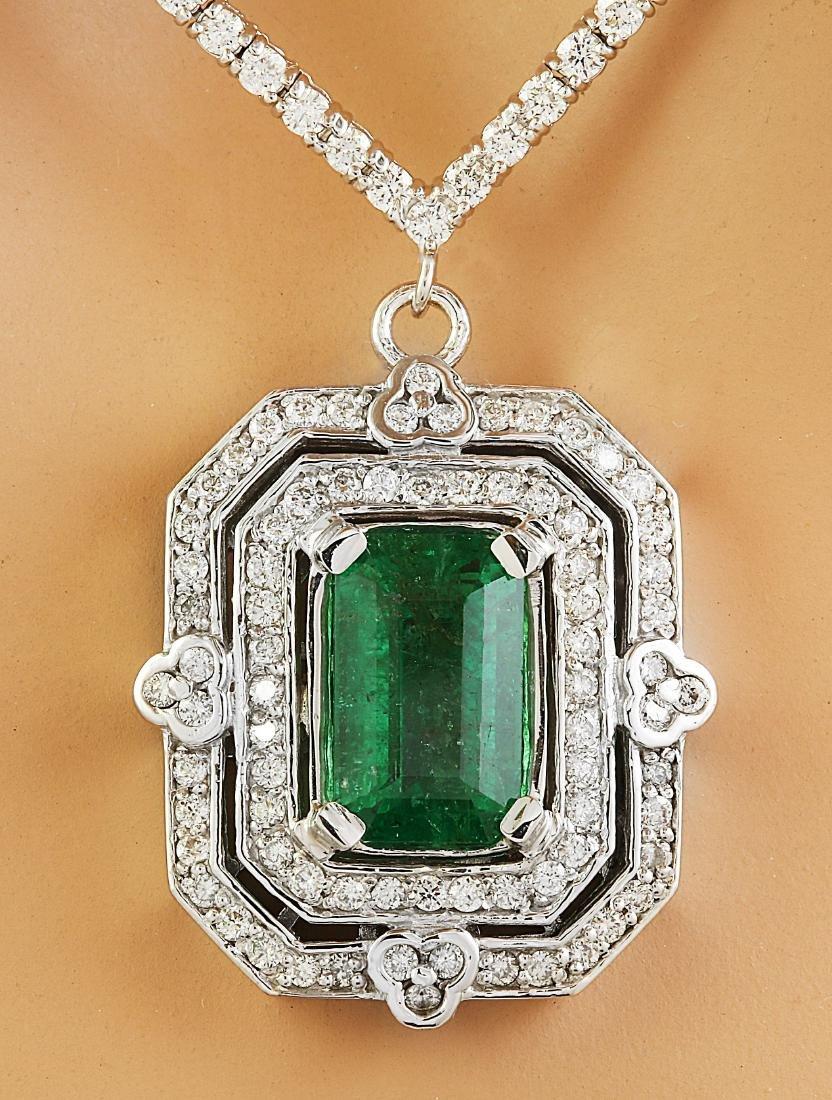8.84 Carat Emerald 18K White Gold Diamond Necklace