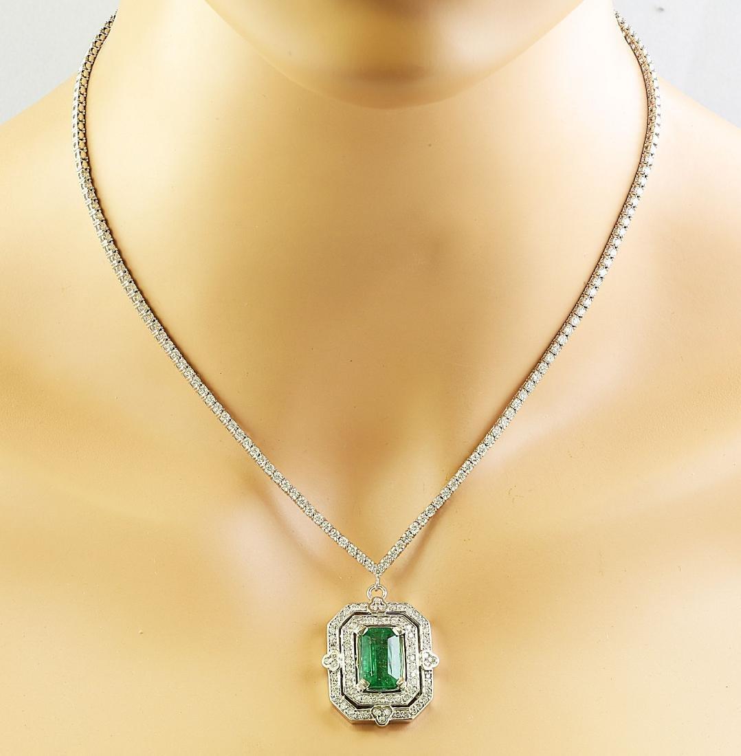 8.84 Carat Emerald 18K White Gold Diamond Necklace - 2