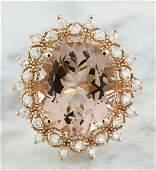 601 Carat Morganite 14K Rose Gold Diamond Gold Ring