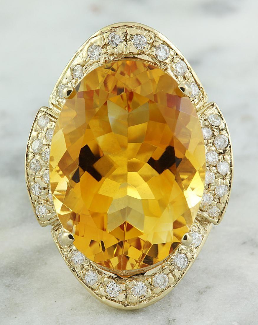 17.06 Carat Citrine 14K yellow Gold Diamond Ring