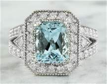 4.68 Carat Aquamarine 14K White Gold Diamond Ring
