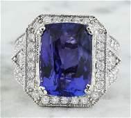 14.10 Carat Tanzanite 14K White Gold iamond Ring