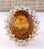 2847 CTW Natural Madeira Citrine And Diamond Ring 18K