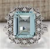 558CTW Natural Blue Aquamarine Diamond Ring 18K Solid