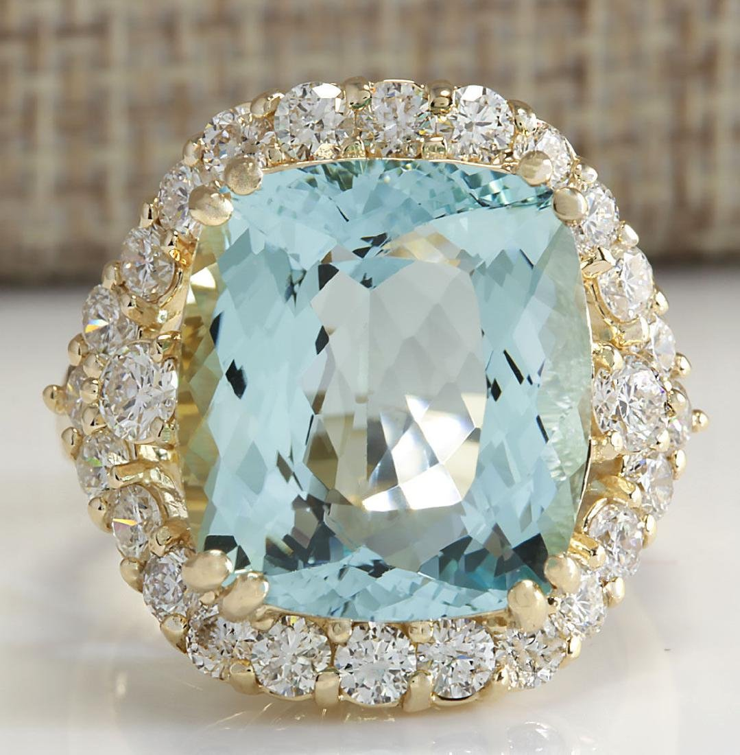 13.13Ct Natural Aquamarine And Diamond Ring In18K Solid