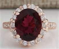 550 CTW Natural Pink Red Tourmaline And Diamond Ring