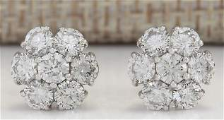 200 CTW Natural Diamond Earrings 18K Solid White Gold
