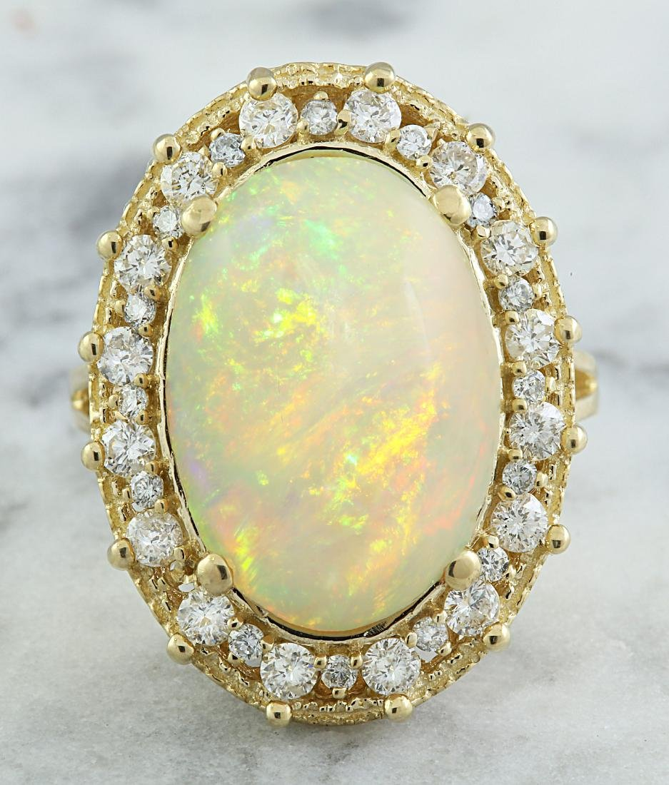 7.00 Carat Opal 14K Yellow Gold Diamond Ring