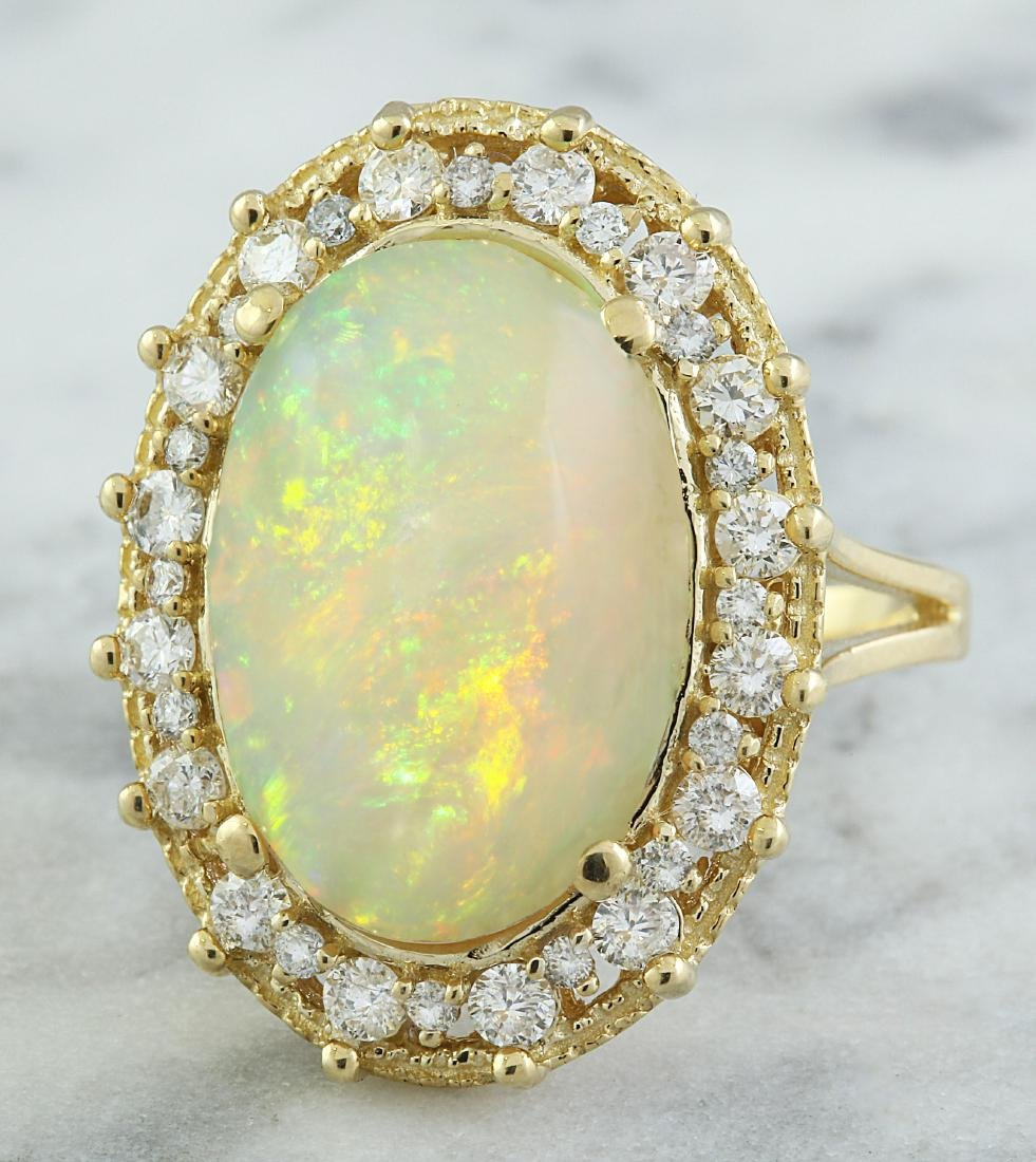 7.00 Carat Opal 14K Yellow Gold Diamond Ring - 2