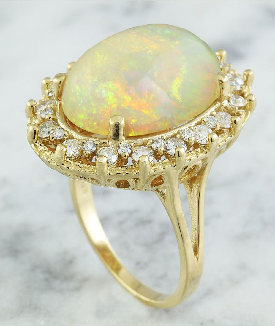 7.00 Carat Opal 14K Yellow Gold Diamond Ring - 4