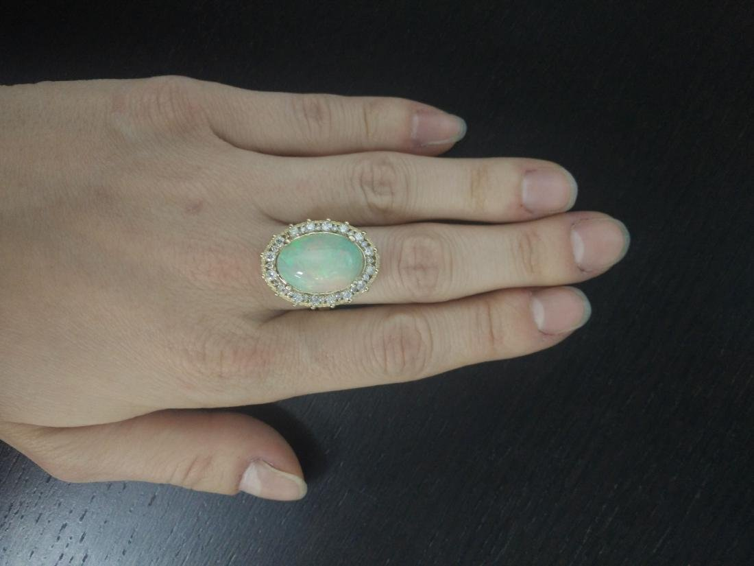 7.00 Carat Opal 14K Yellow Gold Diamond Ring - 5