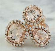 569 Carat Morganite 14K Rose Gold Diamond Ring