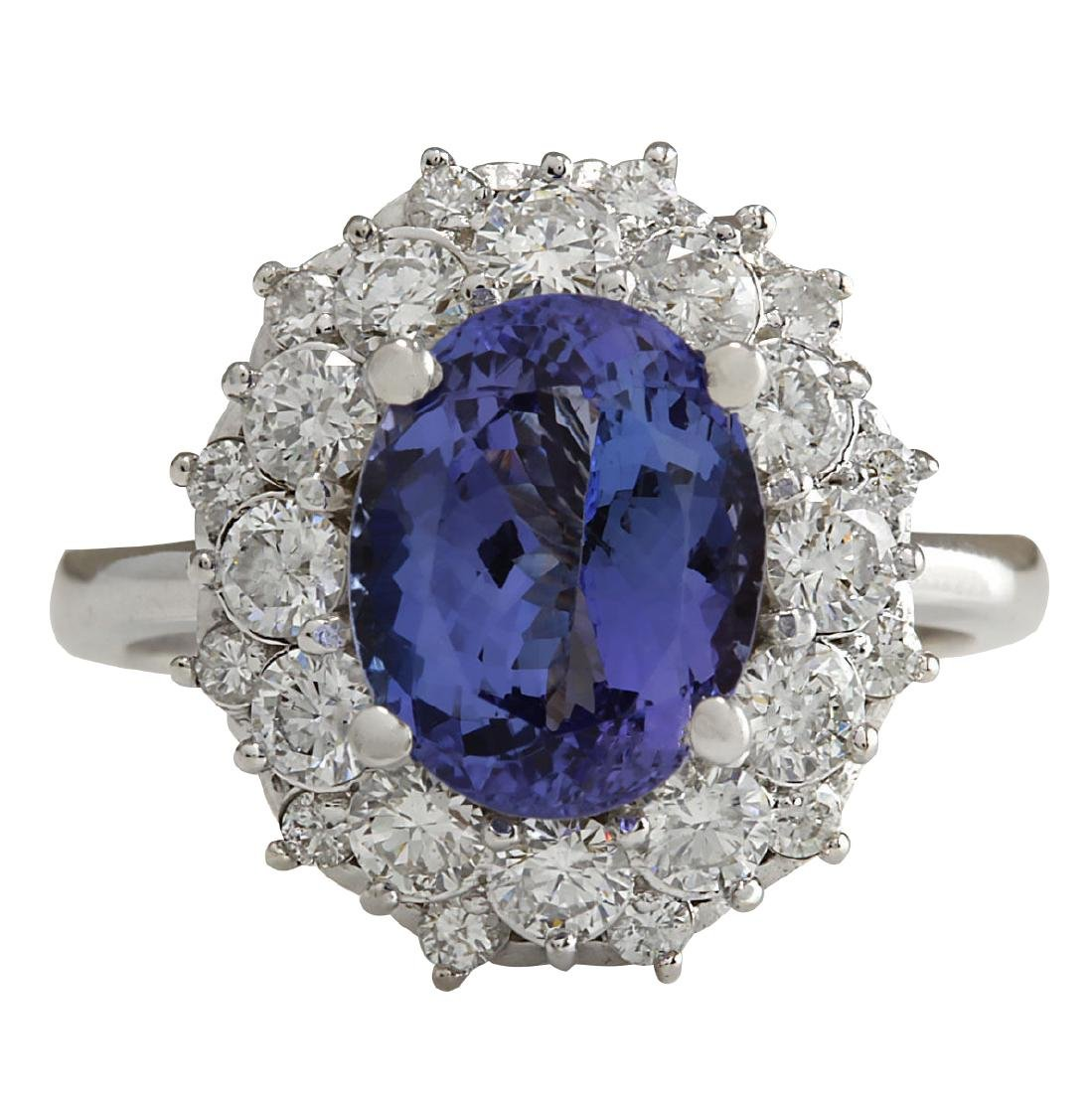 4.55 CTW Natural Blue Tanzanite And Diamond Ring In 18K