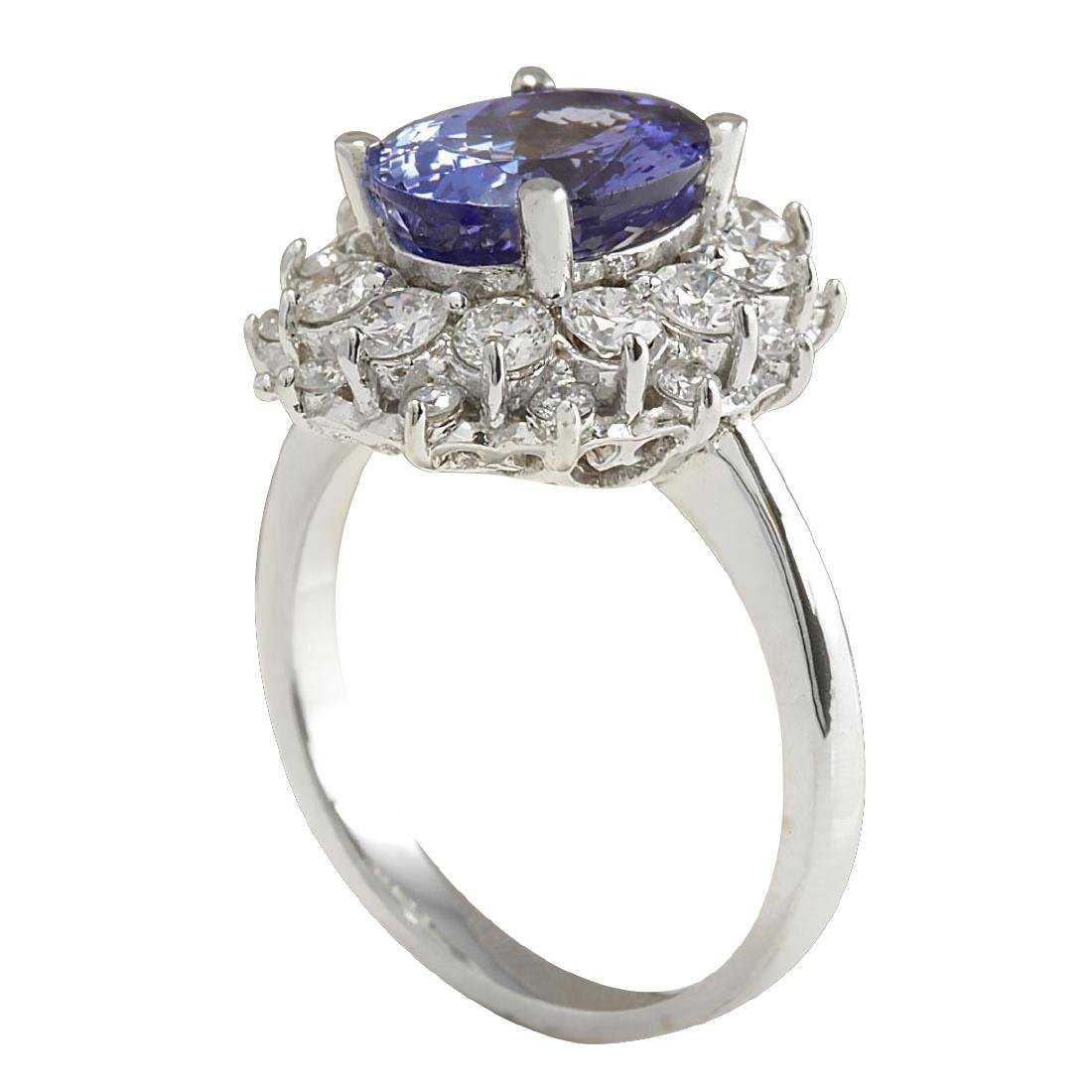 4.55 CTW Natural Blue Tanzanite And Diamond Ring In 18K - 3
