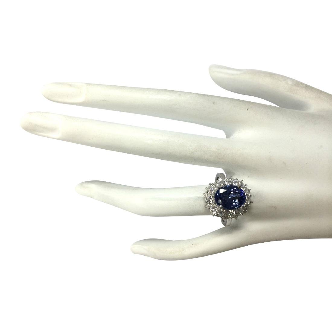 4.55 CTW Natural Blue Tanzanite And Diamond Ring In 18K - 4