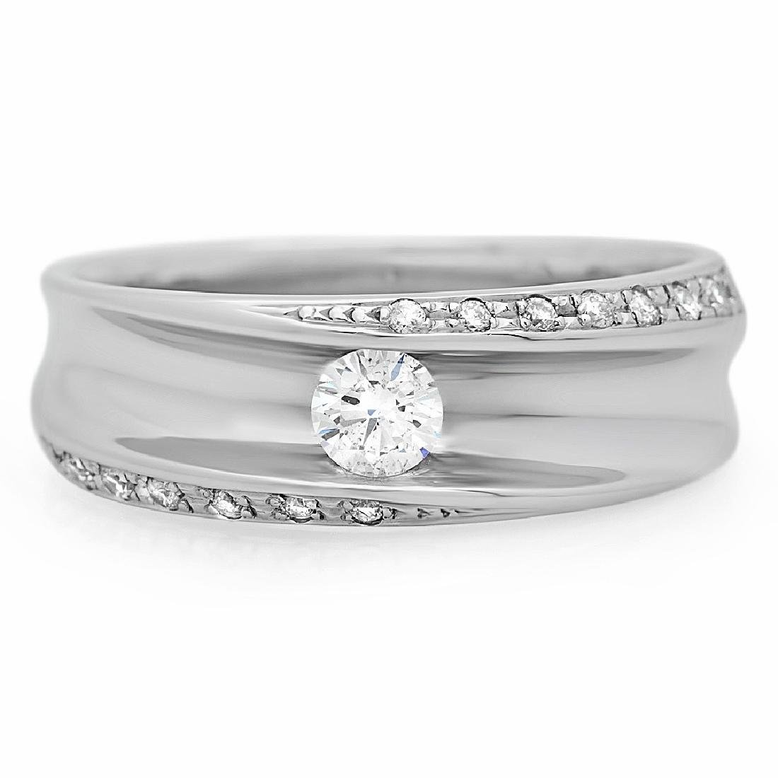Mens 0.44 Carat Natural Diamond 18K Solid White Gold