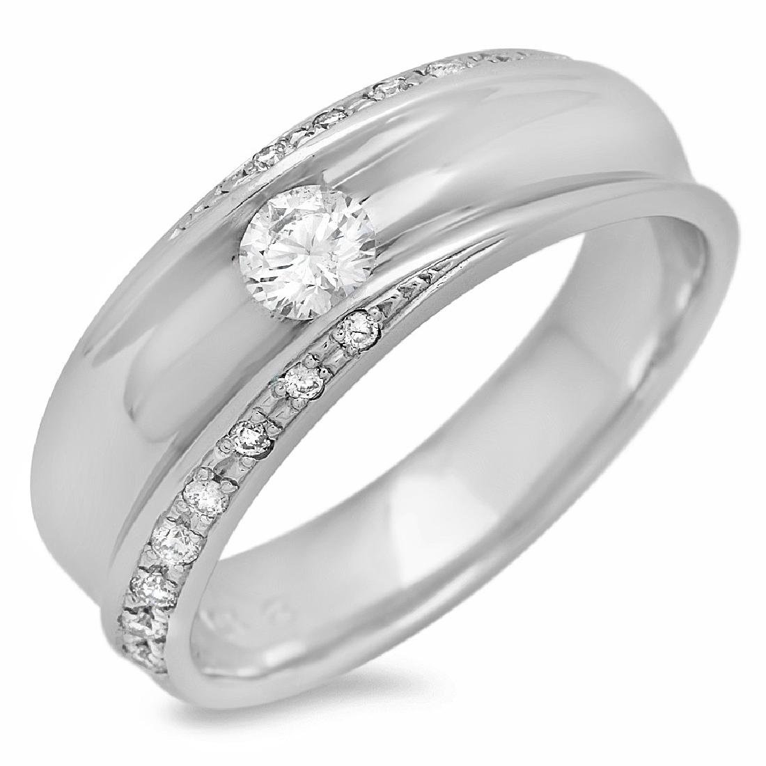 Mens 0.44 Carat Natural Diamond 18K Solid White Gold - 2