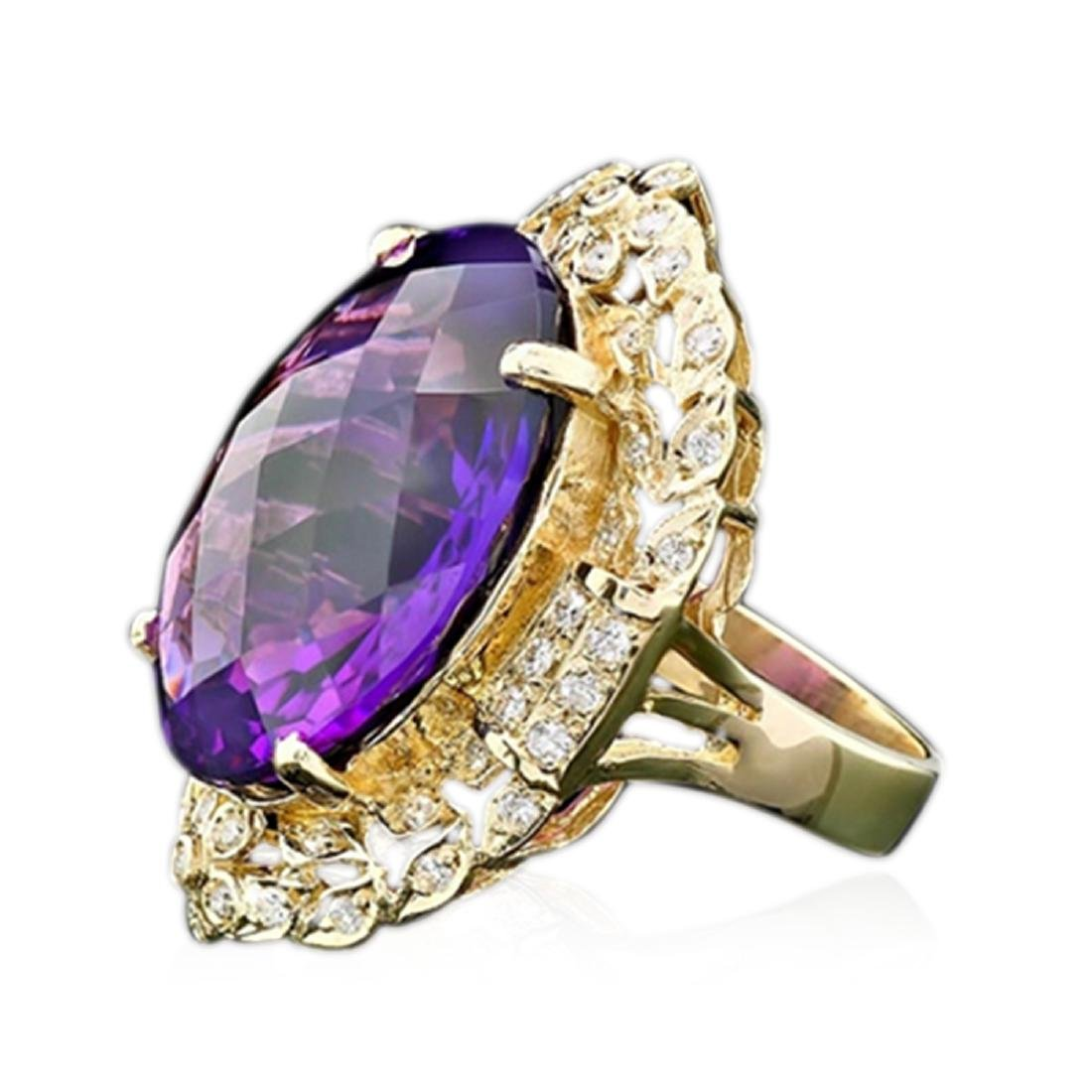 28.60 Carat Natural Amethyst 18K Solid Yellow Gold - 2
