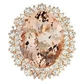 1556 CTW Natural Morganite And Diamond Ring In 18K