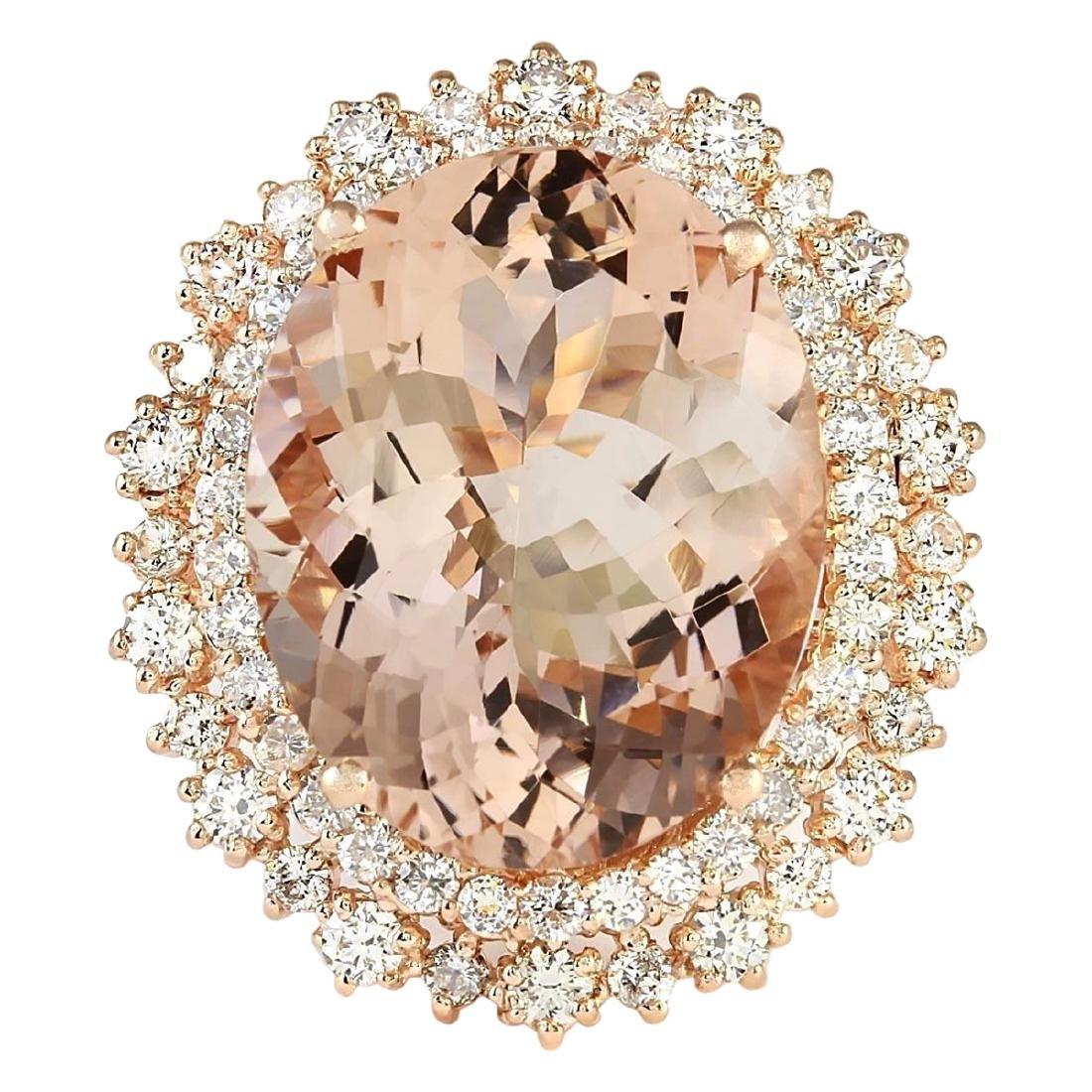 15.56 CTW Natural Morganite And Diamond Ring In 18K