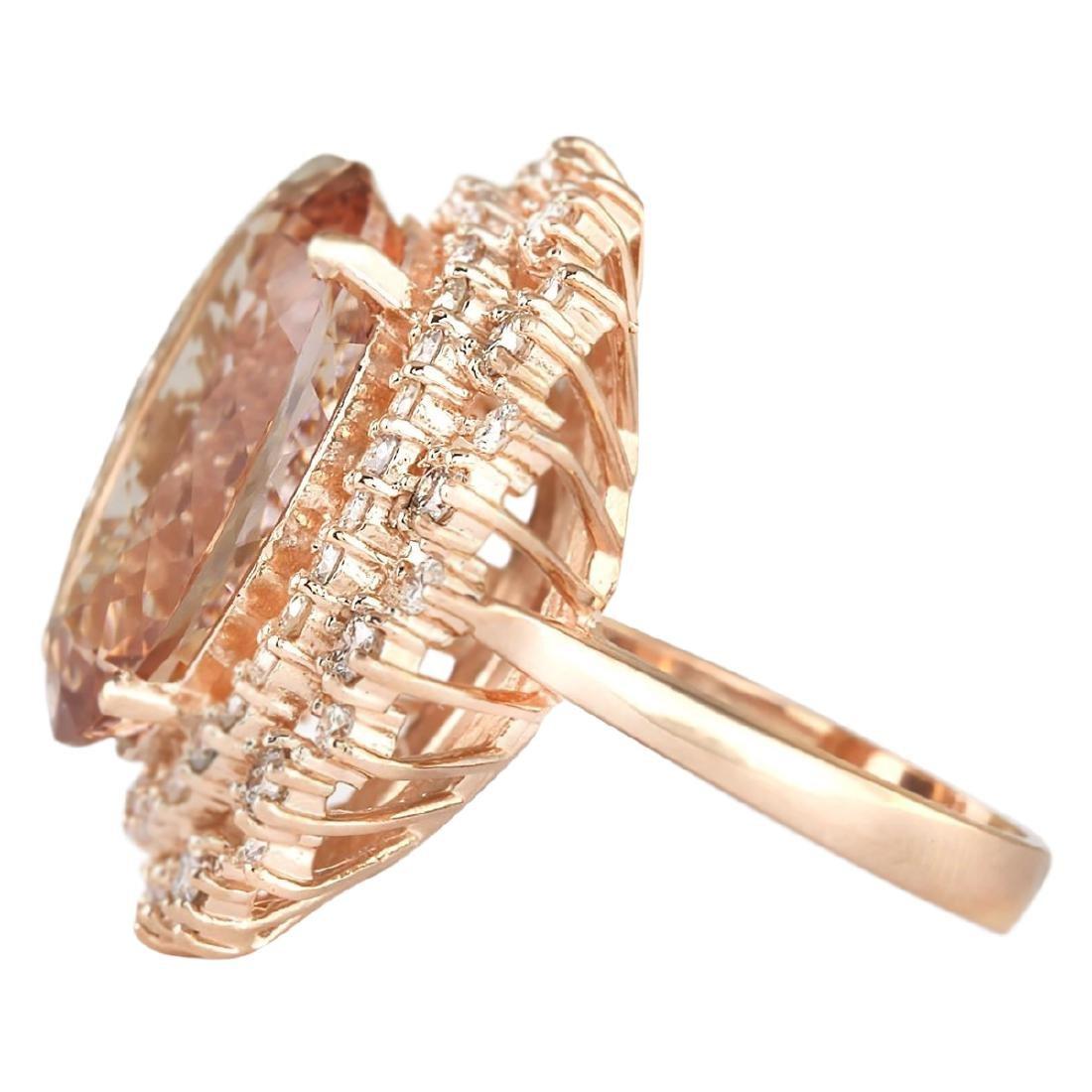 15.56 CTW Natural Morganite And Diamond Ring In 18K - 2