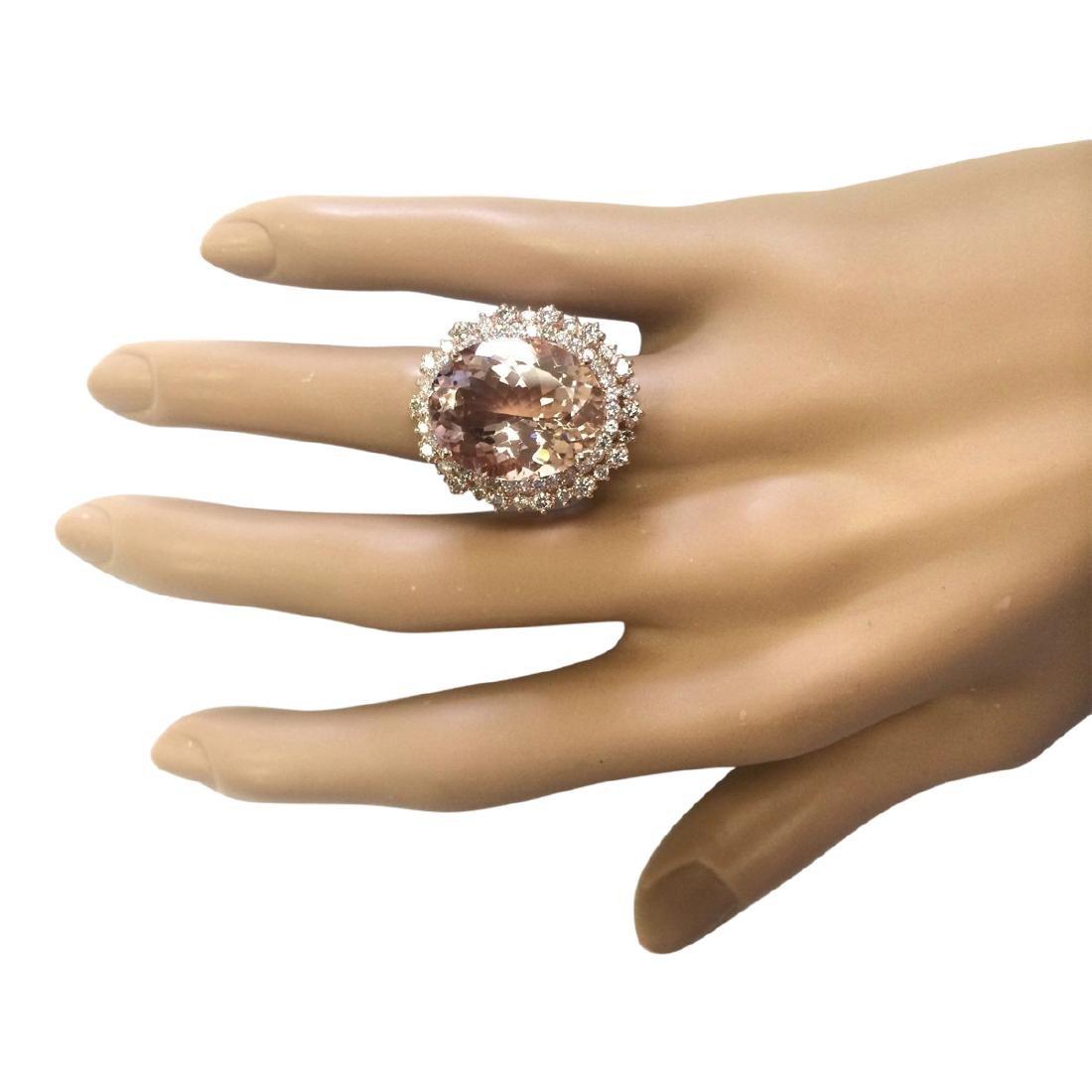 15.56 CTW Natural Morganite And Diamond Ring In 18K - 4