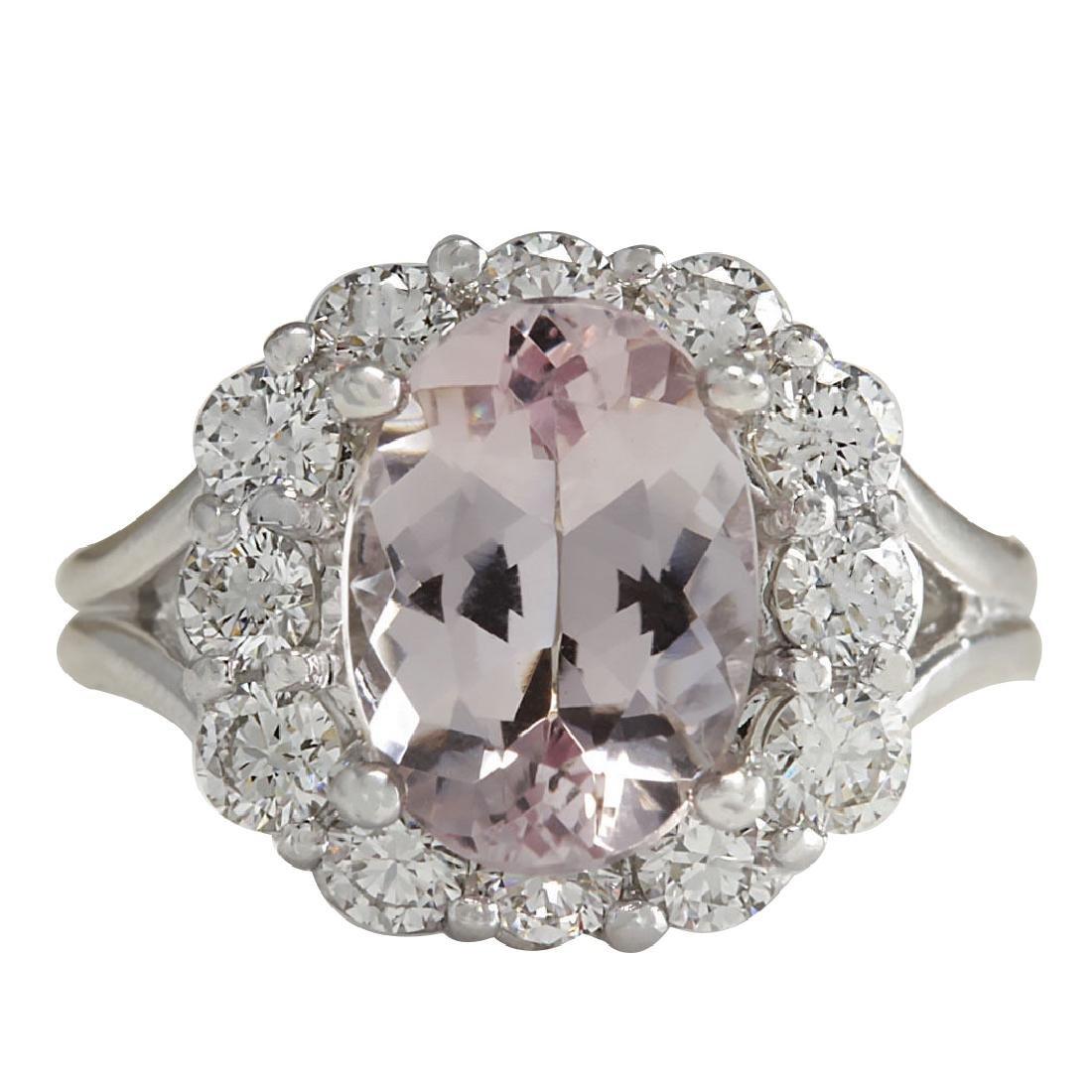 3.70CTW Natural Peach Morganite And Diamond Ring In 18K