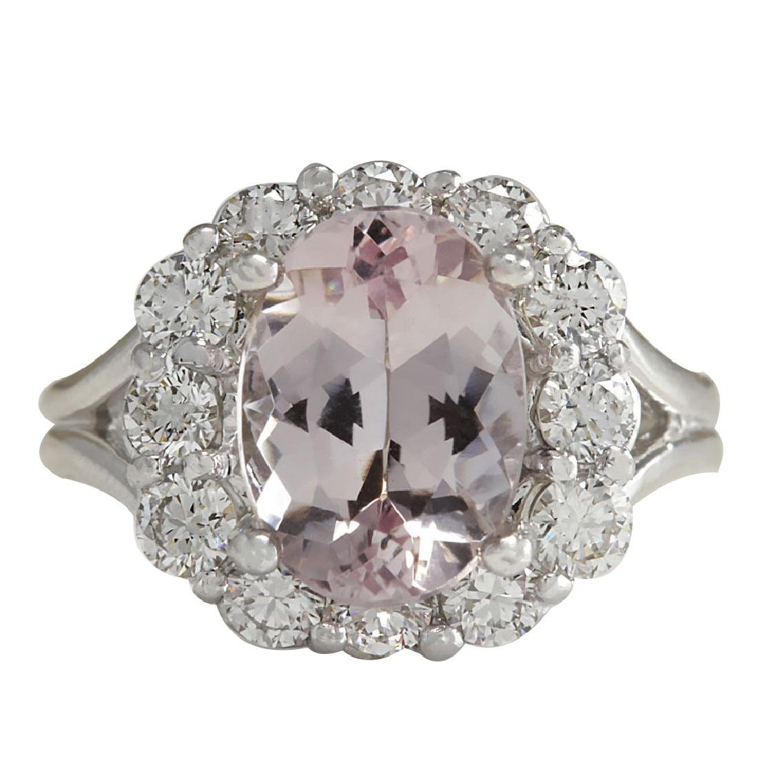 3.70CTW Natural Peach Morganite And Diamond Ring In 18K