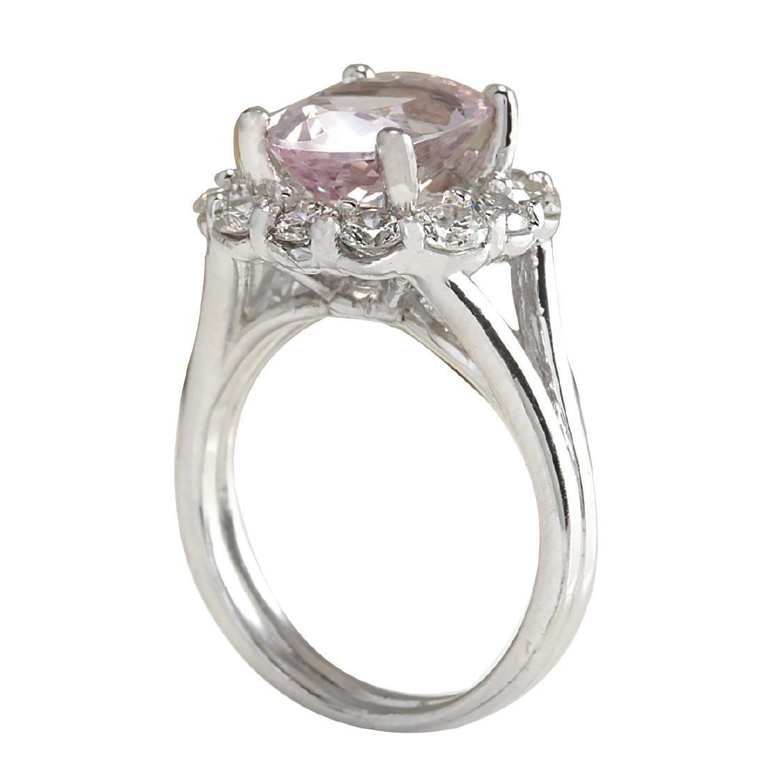 3.70CTW Natural Peach Morganite And Diamond Ring In 18K - 3