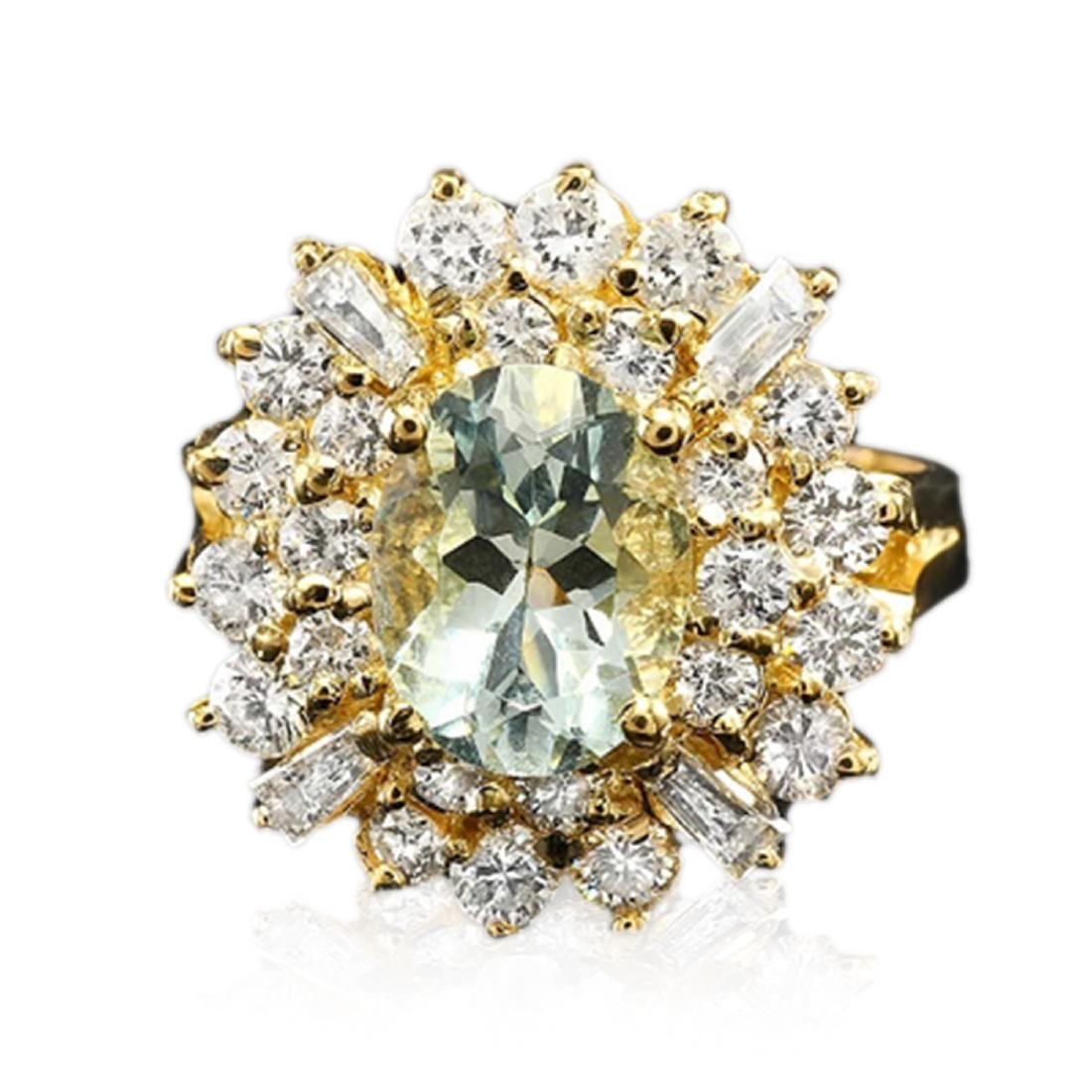 3.25 Carat Natural Aquamarine 18K Solid Yellow Gold