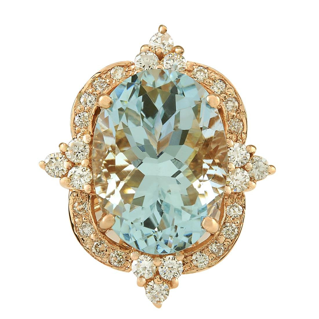 8.27CTW Natural Aquamarine And Diamond Ring In 18K Rose