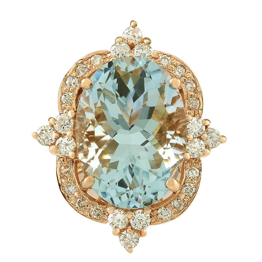 8.27CTW Natural Aquamarine And Diamond Ring In 18K Rose