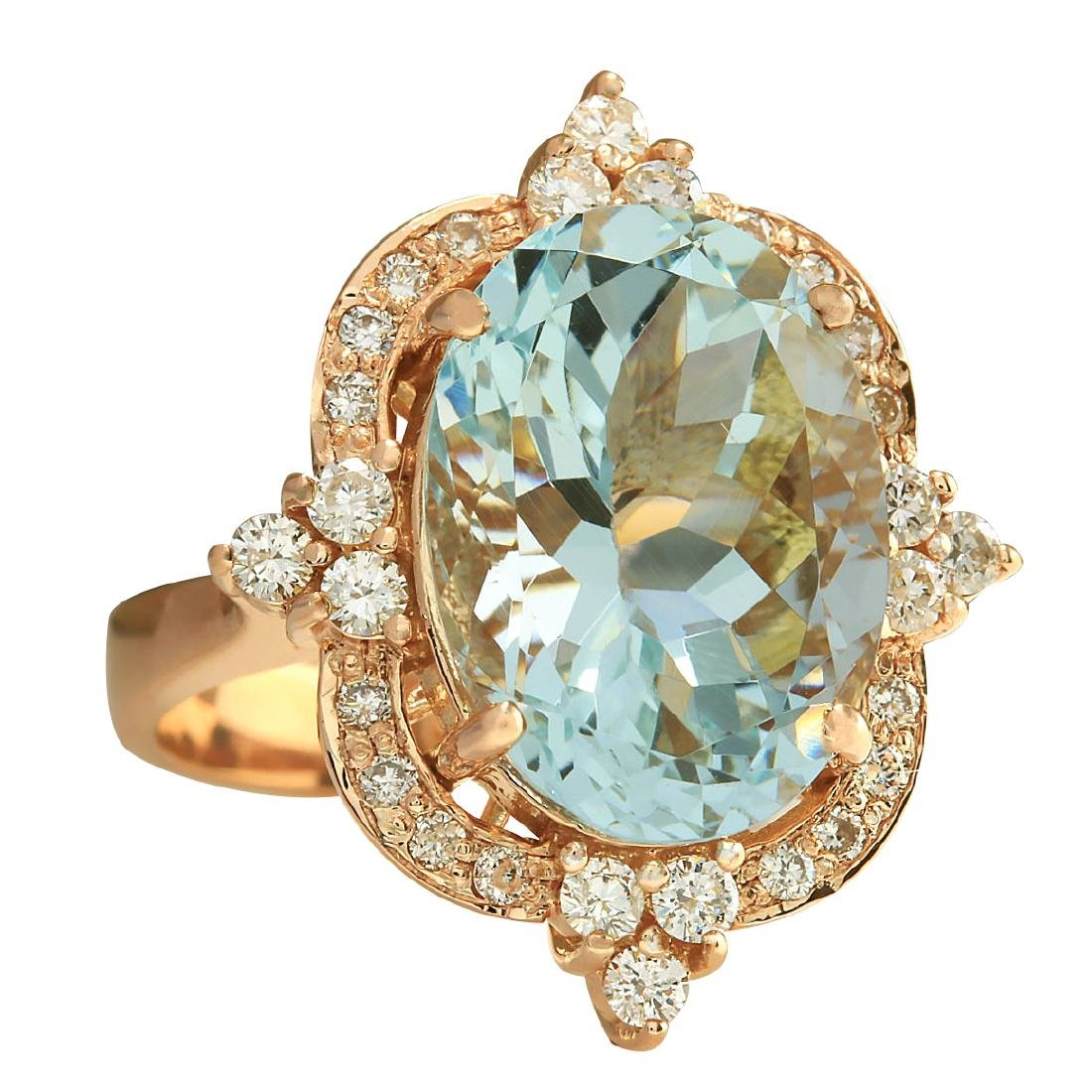 8.27CTW Natural Aquamarine And Diamond Ring In 18K Rose - 2