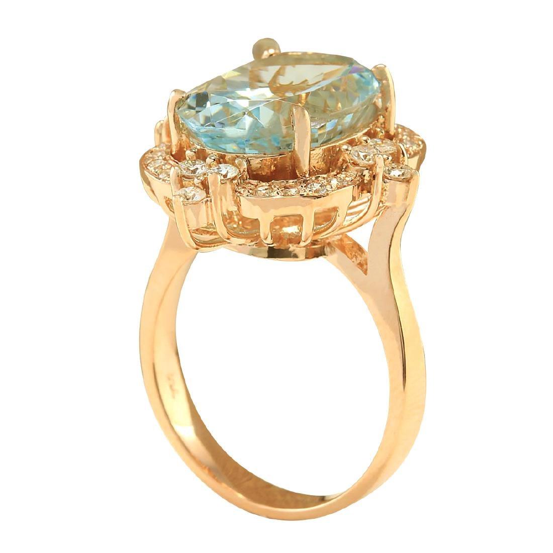 8.27CTW Natural Aquamarine And Diamond Ring In 18K Rose - 3