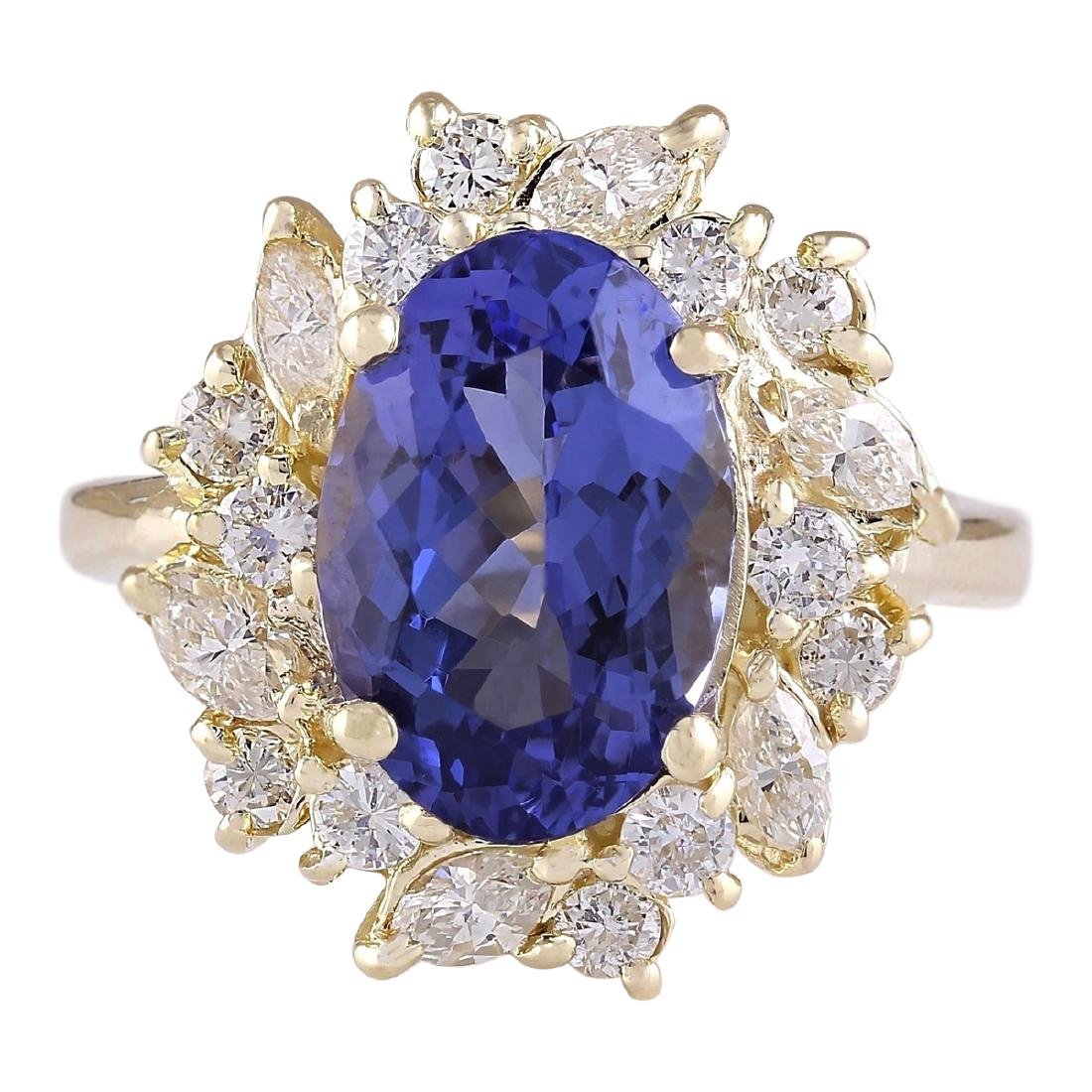 6.58 CTW Natural Tanzanite And Diamond Ring In 18K
