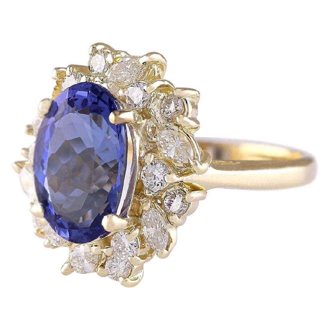 6.58 CTW Natural Tanzanite And Diamond Ring In 18K - 2